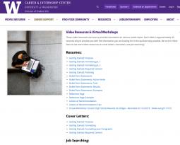 UW Career & Internship Center Resources webpage