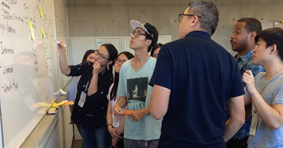 Students working at the C21 Story Institute